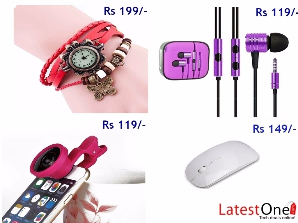 Wireless mouse, Selfie camera lens, Earphones at 110 Rs