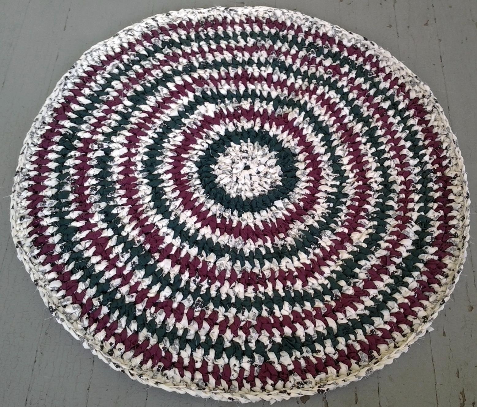 Rag Rug Handmade Crochet Recycled Sheets Green Maroon