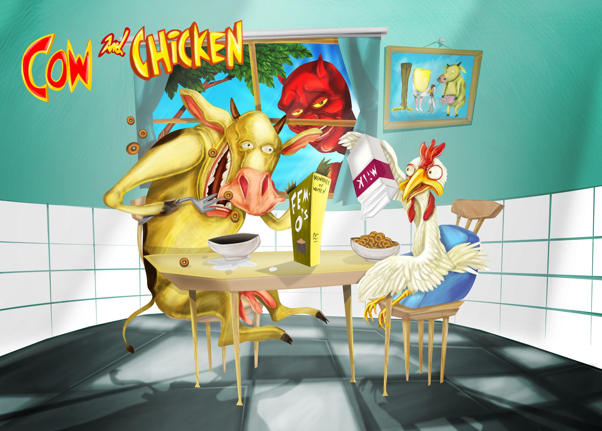 Cow Chicken. Personal project.  - biondoartwork | ello